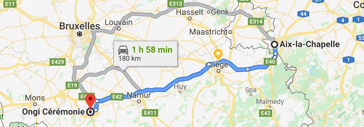 Itinéraire pour Magasin de costume de mariage depuis Aix la Chapelle