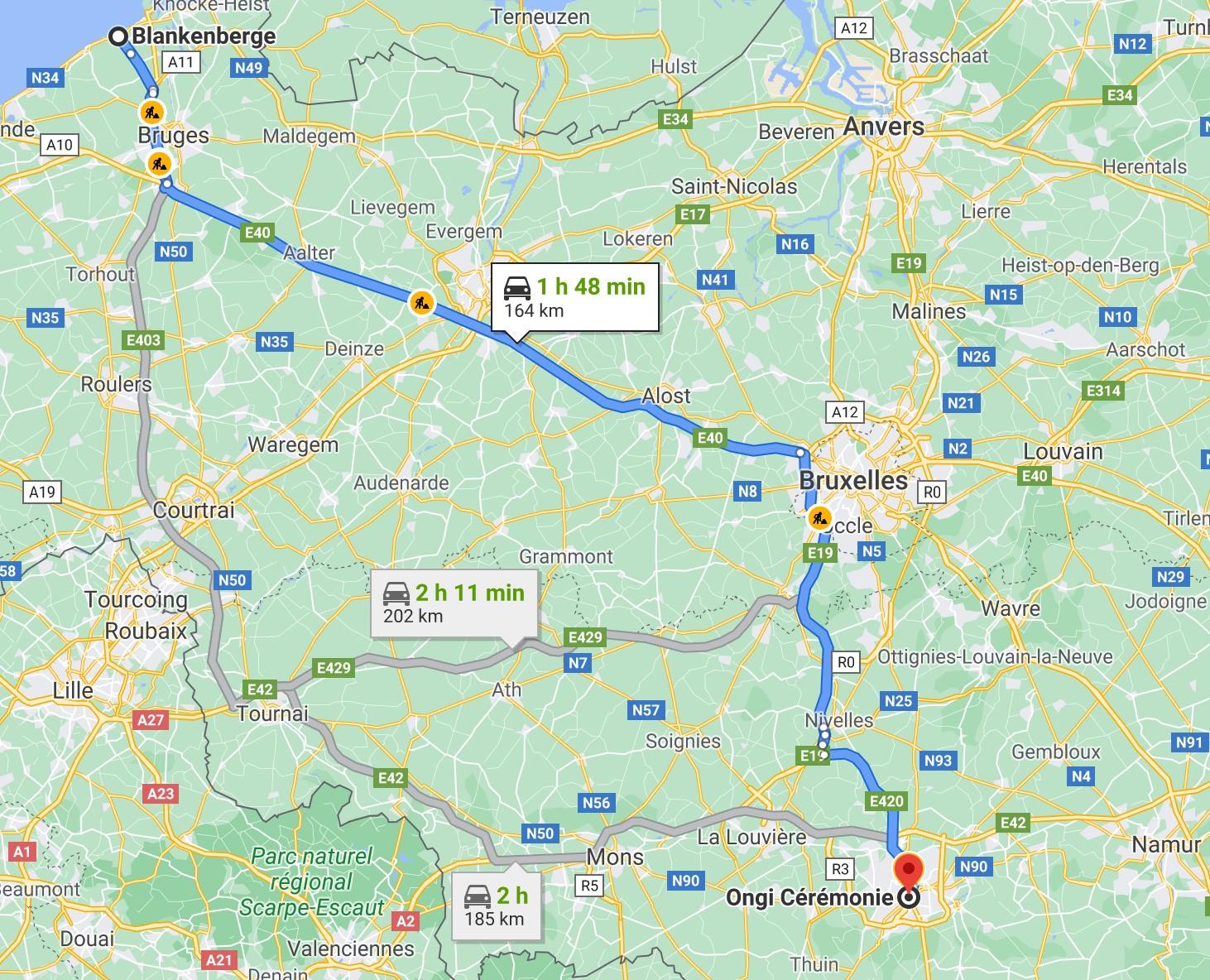 itinéraire de Blankenberge à Ongi-ceremonie