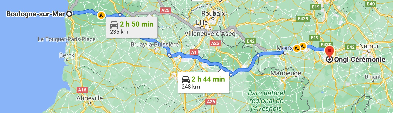 Itinéraire de Boulogne-sur-mer à Ongi-ceremonie