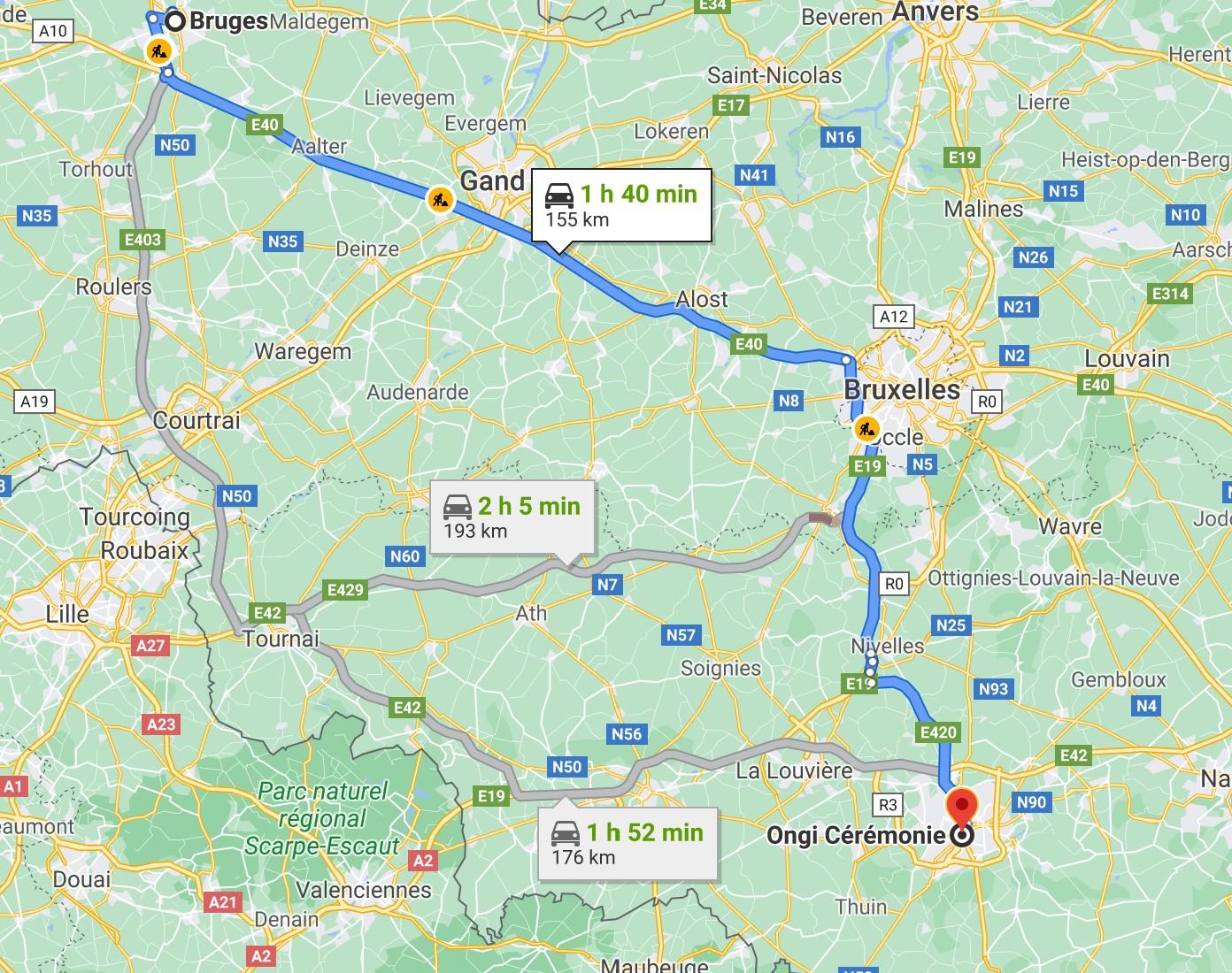 itinéraire de Bruges à Ongi-ceremonie