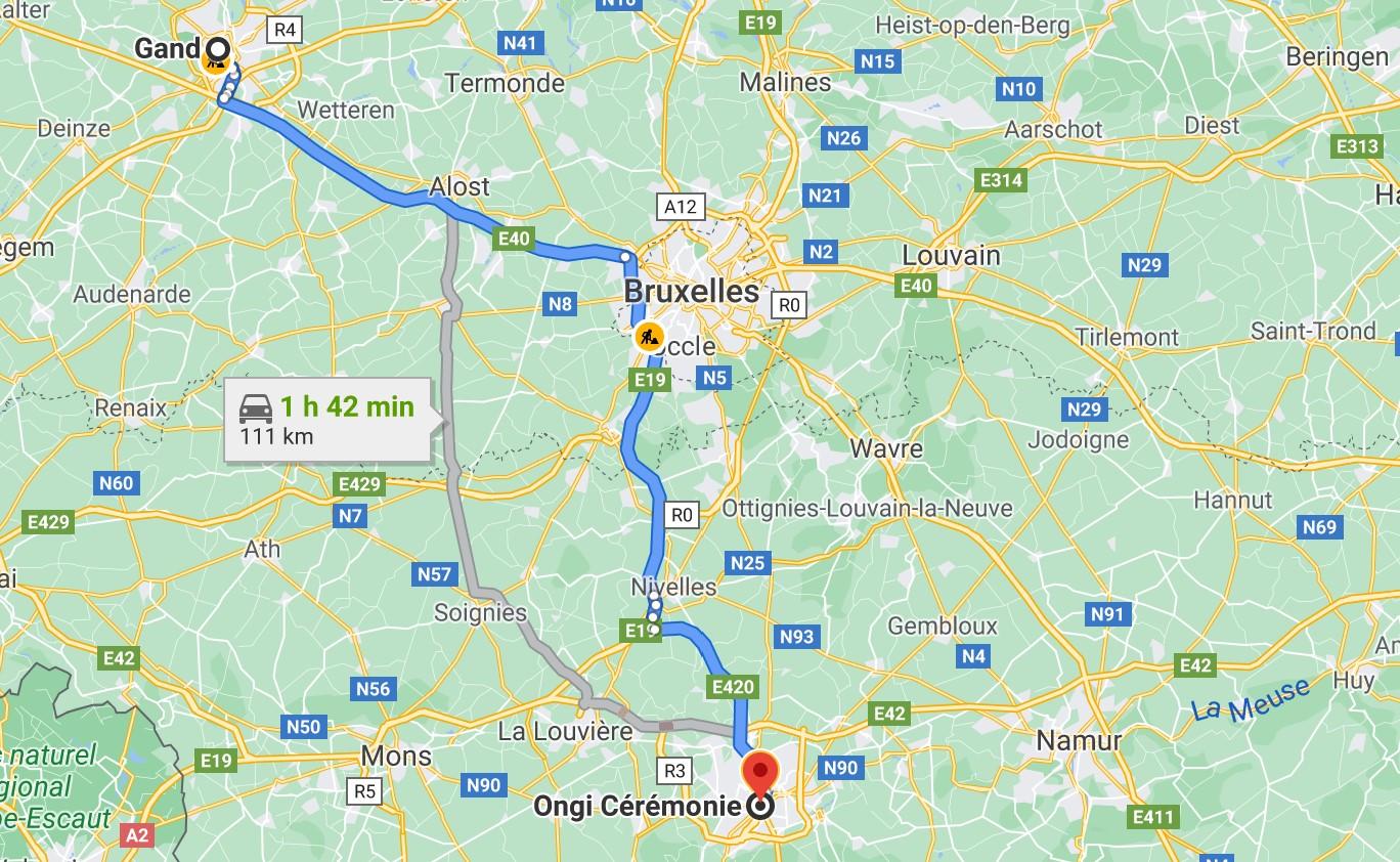 itinéraire de Gand à Ongi-ceremonie