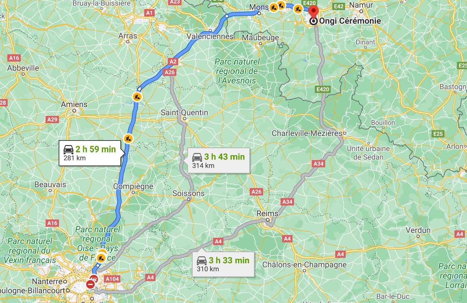 itinéraire de Montreuil à Ongi-ceremonie