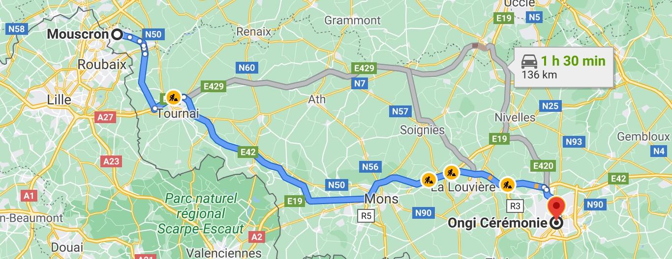 Itinéraire de Mouscron à Ongi-ceremonie