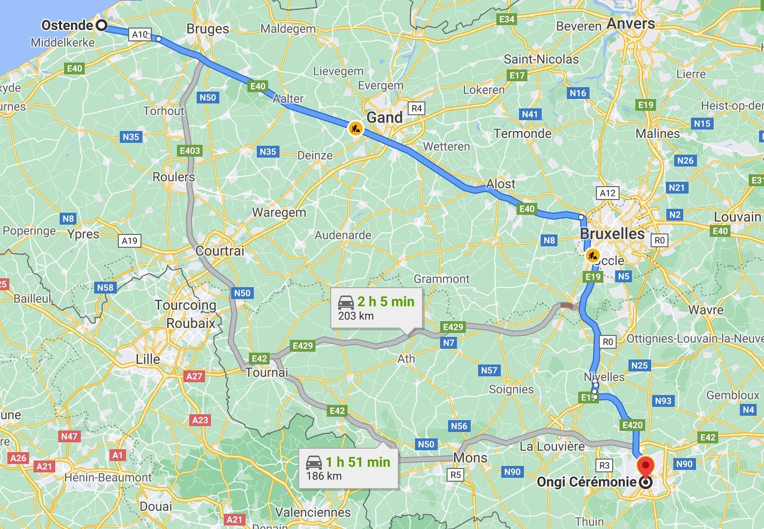 Itinéraire de Ostende à Ongi-ceremonie